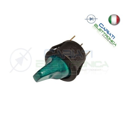 Interruttore Leva con Luce Verde ON OFF 6A 250V  1,40 €