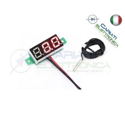 MINI TERMOMETRO DIGITALE da PANNELLO LED ROSSO 0-100°C NTC 12V 24V DC