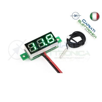 MINI TERMOMETRO DIGITALE da PANNELLO LED VERDE 0-100°C NTC 12V 24V DC Generico