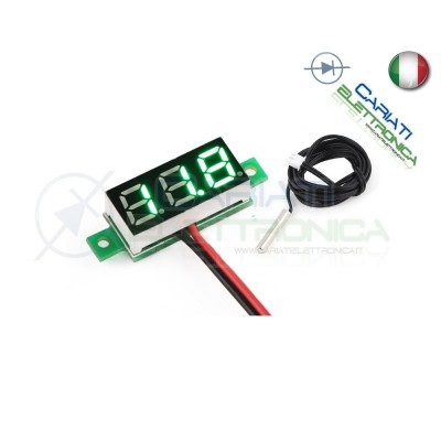 MINI TERMOMETRO DIGITALE da PANNELLO LED VERDE 0-100°C NTC 12V 24V DC