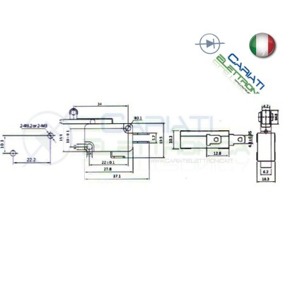 Microswitch Pulsante Fine Corsa Micro Switch a Leva con Rotella  0,85€