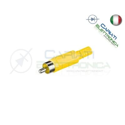 2 PEZZI Connettore Spina RCA volante maschio con guidacavo GIALLO 1,00 €
