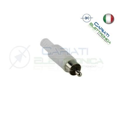 2 PEZZI Connettore Spina RCA volante maschio con guidacavo BIANCO