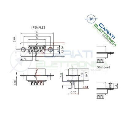2 Pezzi Connettore D-Sub 9 poli Femmina a saldare porta parallela