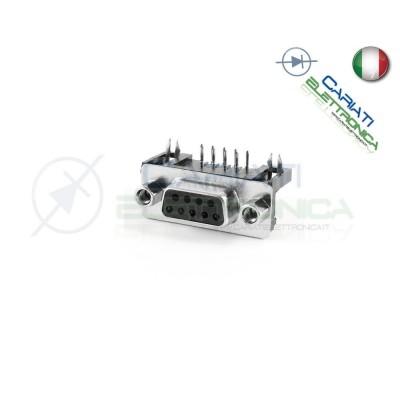 Connettore SUB-D 9 poli FEMMINA con pin circuito stampato 90° RS232 seriale