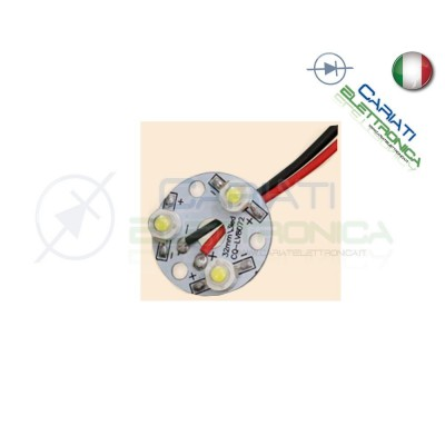 Basetta 3 led Power Bianco freddo 1W 3x1W con lente diametro 32mm