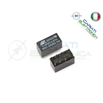 Relay Relè 24V DC SONGLE DPDT 1A 125VAC 1A 30VDC SRC-24VDC-SH Songle 1,60 €