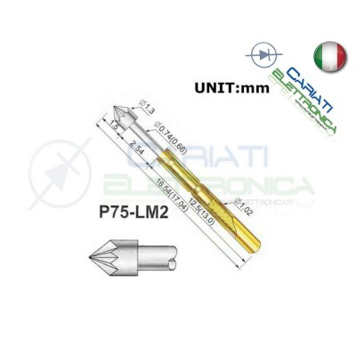 5 PEZZI Sonda test a molla PCB IC P75-LM2 di diametro 1.02 mm Spring Probe Pin 1,00 €