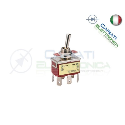 Interruttore Deviatore a Leva DPDT ON ON 15A 250V 6 Pin