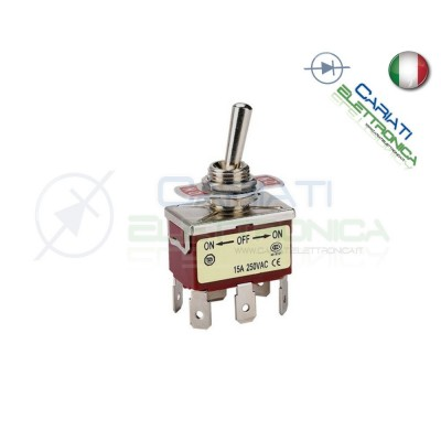 Interruttore Deviatore a Leva DPDT ON OFF ON 15A 250V 6 Pin