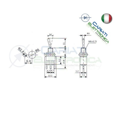 Interruttore Deviatore a Leva ON OFF ON 6A 120V CON PIN DA PCB  1,00 €