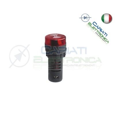 SPIA DI SEGNALAZIONE LUMINOSA SONORA 220V LED ROSSO BUZZER  3,00€