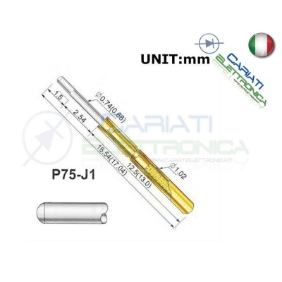 5 PEZZI Sonda test a molla PCB IC P75-J1 ring Probe Pin  1,50 €