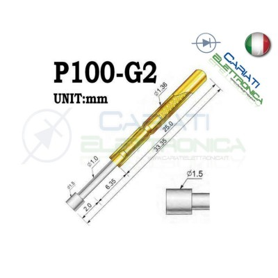 5 PEZZI Sonda test a molla PCB IC P100-G2 ring Probe Pin 1,50 €