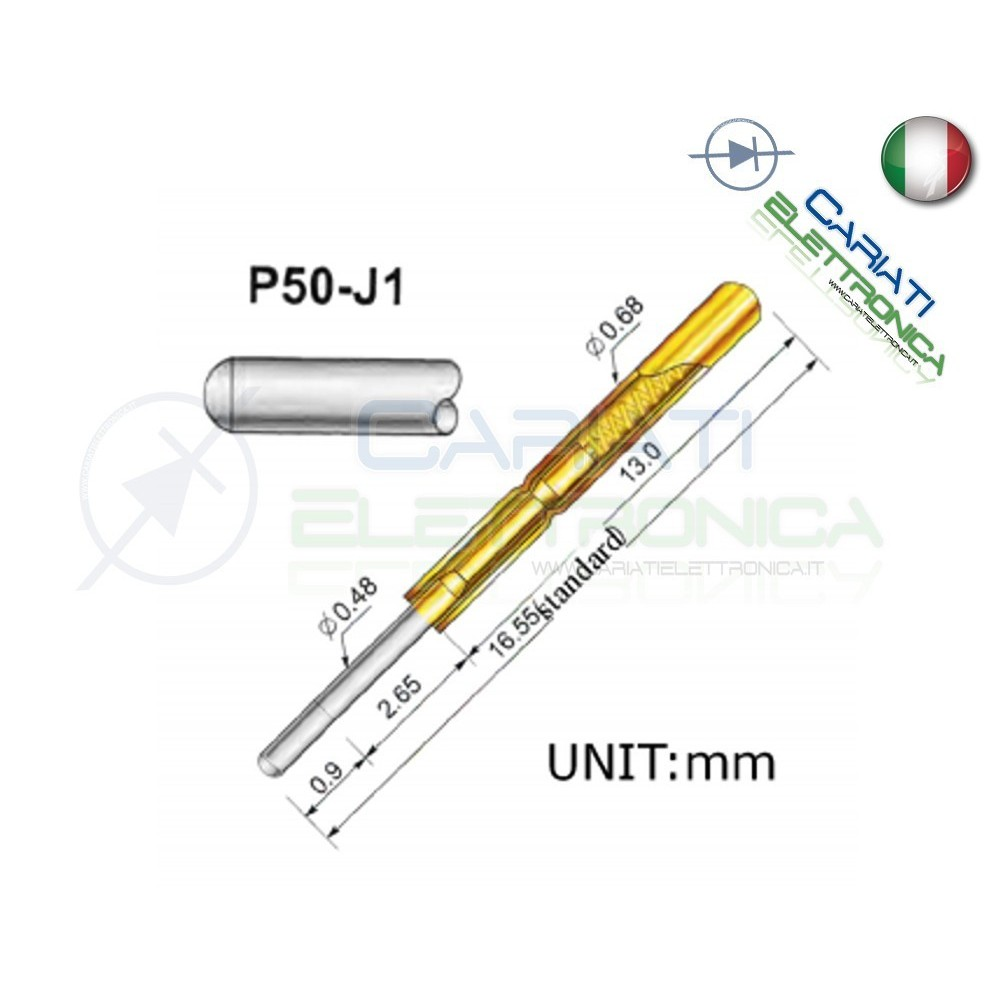 5 PEZZI Sonda test a molla PCB IC P50-J1 ring Probe Pin