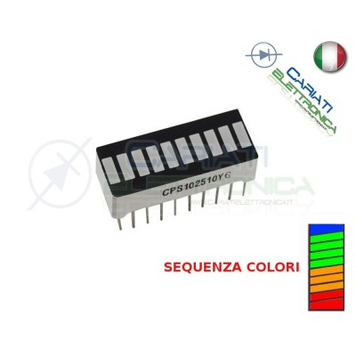Display Ledbar Barra a Led 10 SEGMENTI LIVELLI 4 COLORI
