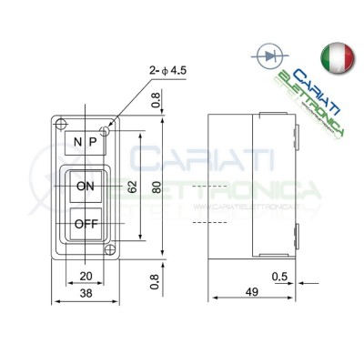 Interruttore ON OFF da pannello quadro con scatola 15A IP30