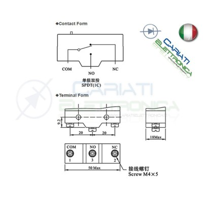 Microswitch Pulsante Fine Corsa Micro Switch a leva SPDT 15A 250Vac
