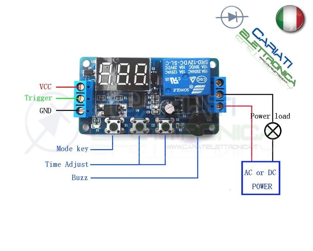 Scheda modulo rel temporizzatore timer multifunzione 12v for Costruire un temporizzatore 12v