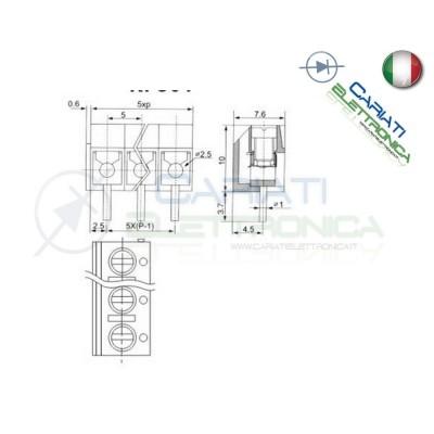 50 PEZZI Morsettiera 2 Poli H 10 Morsetti Connettore PCB Terminal Block Generico 5,49€