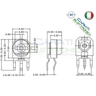 5 pezzi Potenziometro Trimmer Resistenza Variabile 200k ohm 200kohm