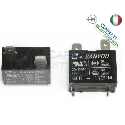 Relè SANYOU SFK-112DM con bobina da 12Vdc 20A 250Vac SPST Sanyou 6,89€