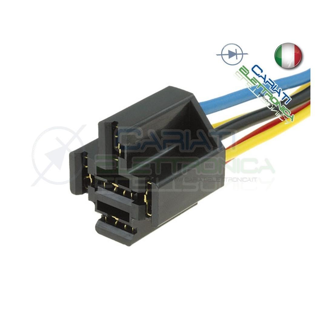 Zoccolo per relè relay 5 pin 40A Auto Camper lunghezza cavi 20cm  2,90€