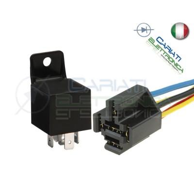 KIT Relè Relay Auto Camper Universale 5 Contatti 12v 30A 40A con connettore