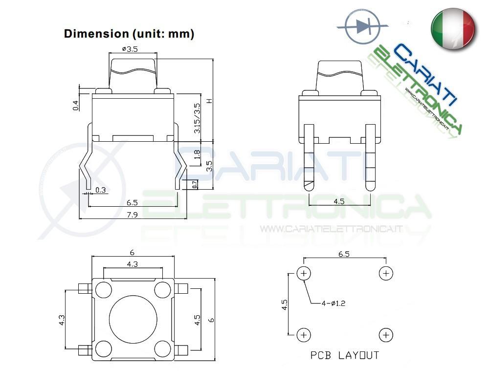10 mini micro pulsante 6x6x6 mm pcb tactile switch spst