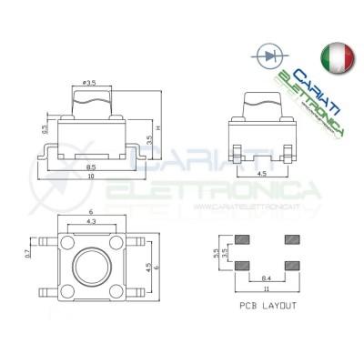 50 MINI MICRO PULSANTE 6X6X8 mm PCB Tactile Switch SPST