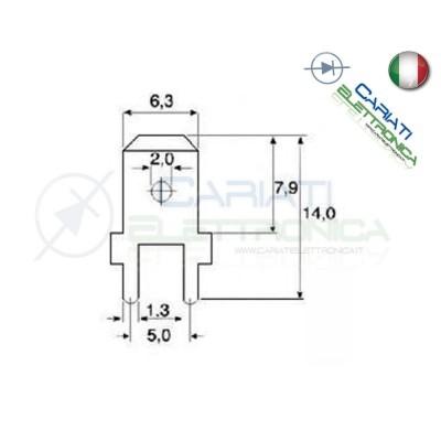 50 PEZZI Faston Maschio per PCB 6,35x0,8mm  3,00€