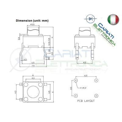 50 MINI MICRO PULSANTE 6X6X12 mm PCB Tactile Switch  6,00€