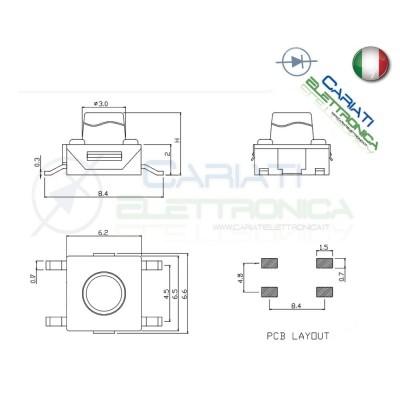 50 MINI MICRO PULSANTE 6X6X3.4 mm PCB Tactile Switch  6,00€