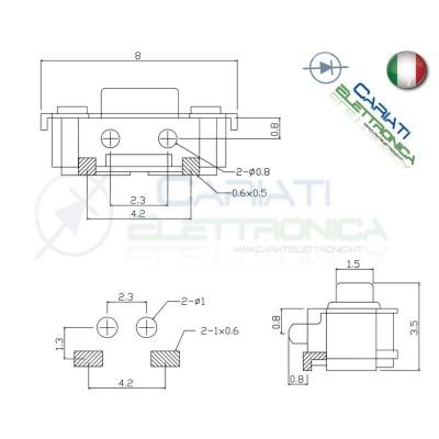 50 PEZZI MINI MICRO PULSANTE 3X6X3.5MM mm PCB Tactile Switch