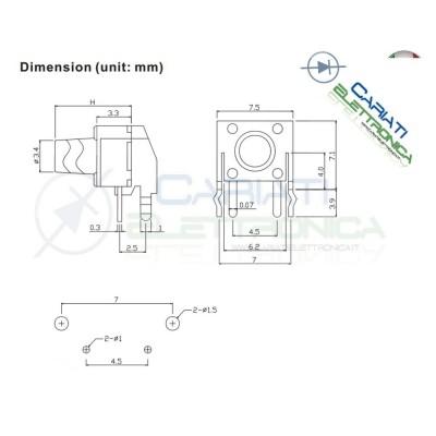 10 MINI MICRO PULSANTE 6X6X4.3 mm PCB Tactile Switch  1,50€