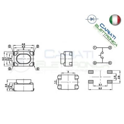 2 PEZZI MINI MICRO PULSANTI PULSANTE 3.2X4.2X2.5 mm PCB Tactile Switch.  1,00€