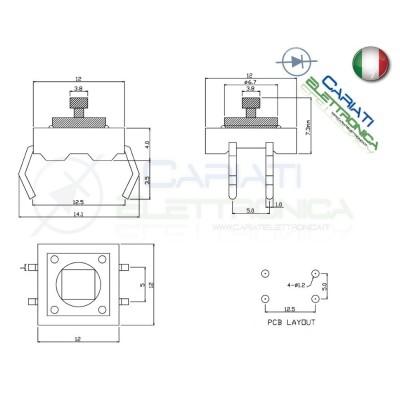 25 MINI MICRO PULSANTE 12x12x12.5 mm PCB Tactile Switch con Cappuccio