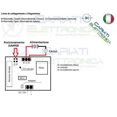 Scheda Ricevente Ricevitore 12V 433 Mhz 1 Relè Canale con Telecomando  13,90€