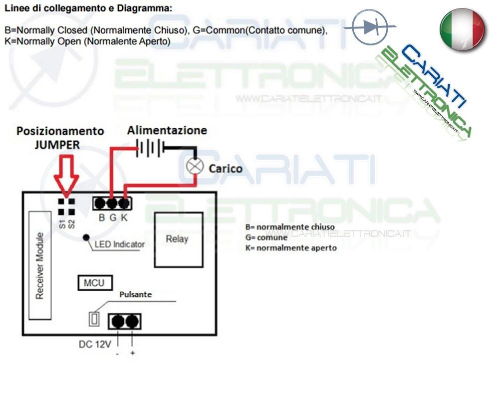 Schema Elettrico Relè Commutatore : Scheda ricevente ricevitore 12v 433 mhz 1 relè canale con telecomando