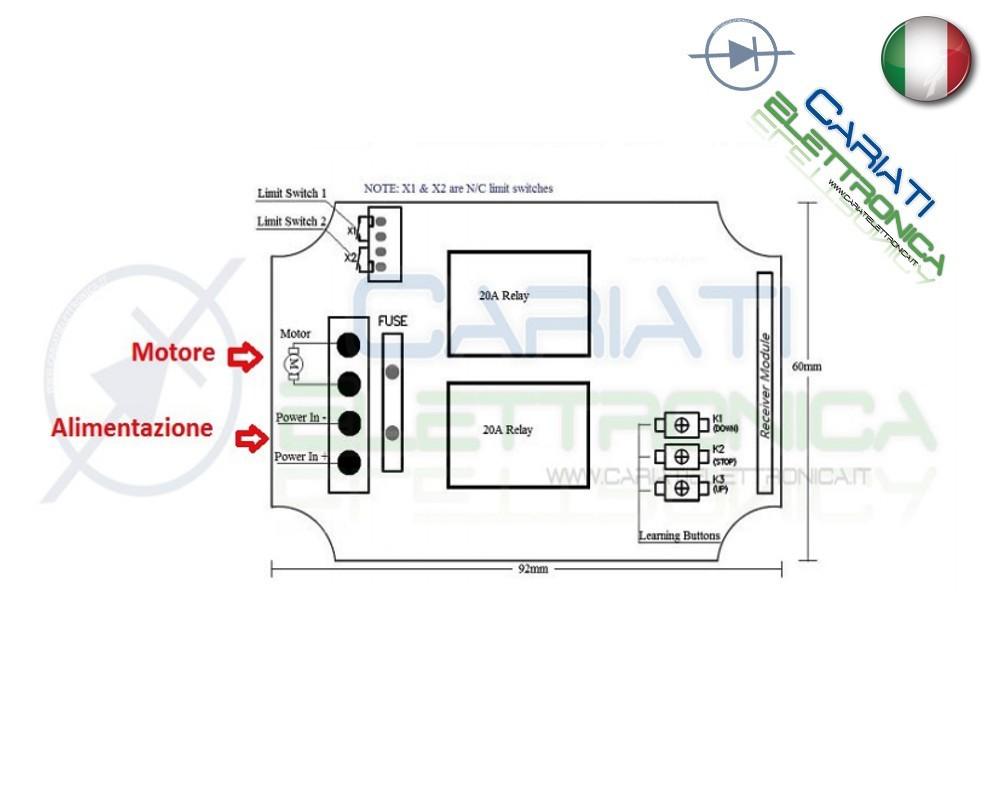 Schema Elettrico Per Saracinesca : Scheda relè controllo motore up stop down a distanza con