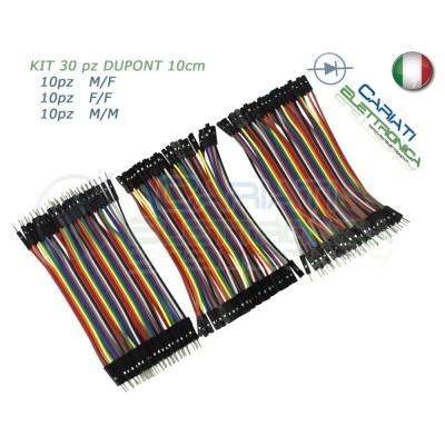 kit 30 ponticelli 10 cm DUPONT jumper breadboard arduino M/M + M/F + F/F