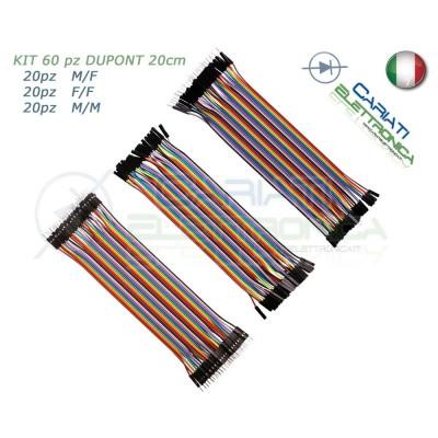 kit 60 ponticelli 20 cm DUPONT jumper breadboard arduino M/M + M/F + F/F