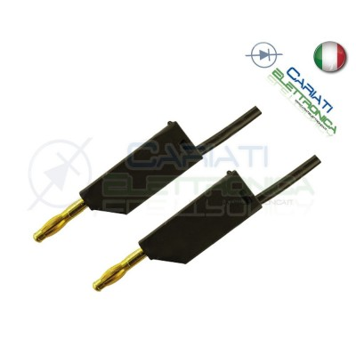 Cavo da 1 metro con Connettore Spina a Banana da 2mm Nera mini Plug Audio