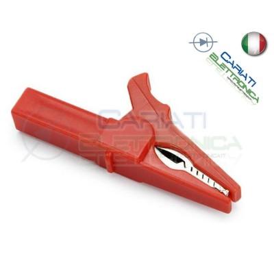 Pinza Coccodrillo con attacco banana 4mm Rossa Rosso 55mm