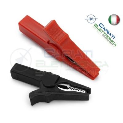 Coppia Pinze Coccodrillo con attacco banana 4mm Rosso Nero 55mm  2,09€