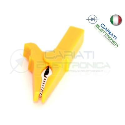 Pinza Coccodrillo con attacco banana 4mm Gialla Giallo 55mm  1,19€