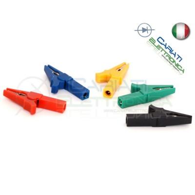 KIT 5 Pezzi Pinza Coccodrillo con attacco banana 4mm Blu Verde Nero Rosso Giallo