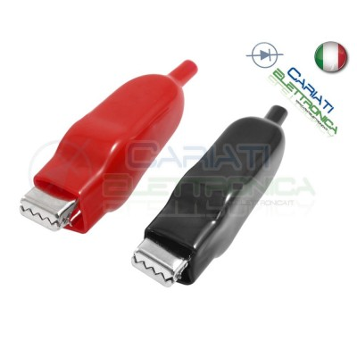 2 Pezzi Pinze Pinza Coccodrillo con Guaina Colore Rosso Nero lunghezza 50mm