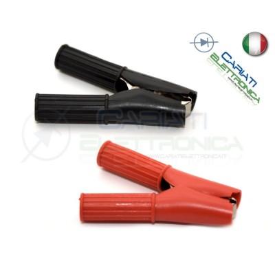 2 Pinze Pinza Coccodrillo con Guaina Colore Nero Rosso lunghezza 82mm