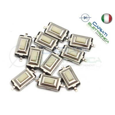 10 PEZZI MINI MICRO PULSANTE 6.1x3.7x2.5 mm PCB Tactile Switch